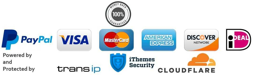 Trust badge safe payment options, 100% money back guarantee and cybersecurity.
